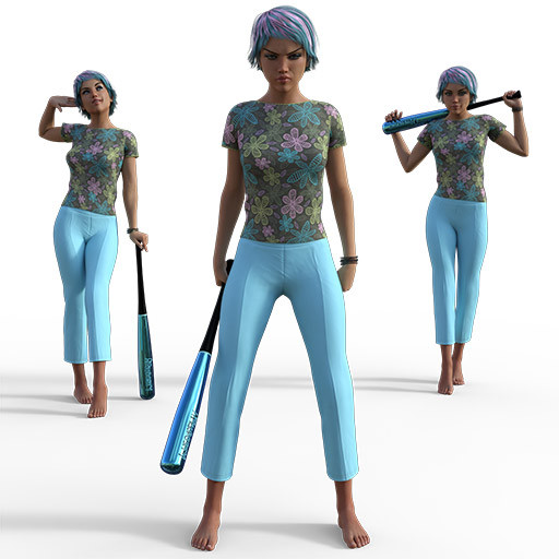 Figure drawing poses of small white woman with turquoise and pink hair and matching baseball bat